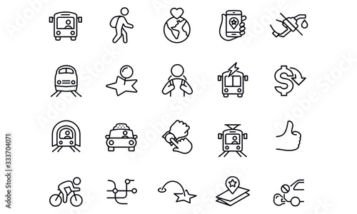 Photo Public Transit icons  vector design black and white