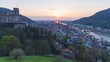 Heidelberg, 20.03.2020: Time-lapse of the sunset with a view of the old town, the castle, the Neckar river and towards Mannheim.