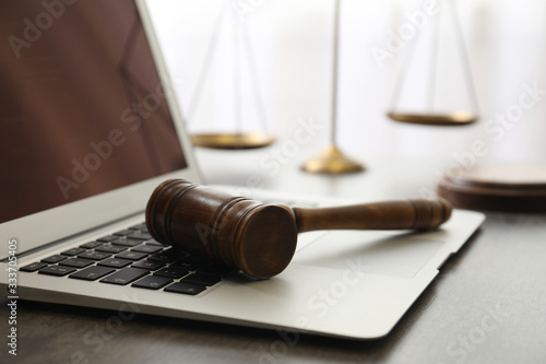Stampa su Tela Laptop, gavel and scales on table, closeup. Cyber crime
