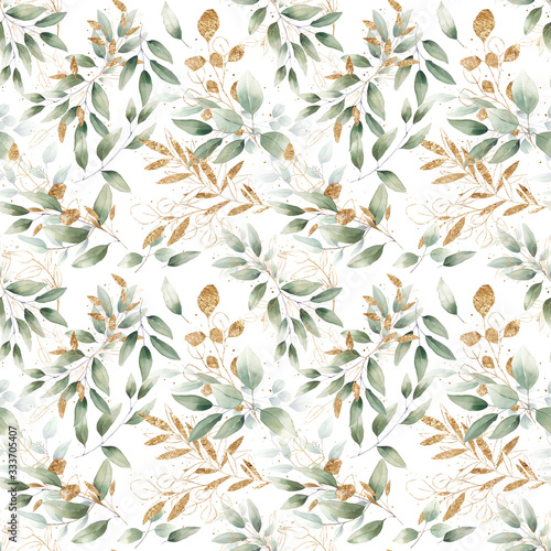 Fotografie, Obraz seamless watercolor floral foliage pattern leaves herbs green pastel delicate br