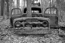 Old Rusty Abandoned Truck With...