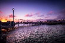 A Dramatic Sunset Over The Pier In Redondo Beach, California.