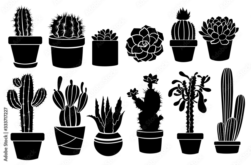 Set of indoor cacti in pots. Collection of stylized thorny plant sills. Decorative pots. Linear Art. Vector illustration on a white background.