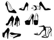 Set Of Women's Shoes. Сollection Of Different Silhouettes Of Girlish Cocktail Shoes, Everyday. Vector Illustration On A White Background.