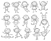 Set Of Doodle Kids Figures. Collection Of Happy Cartoon Kids Illustration. Vector Illustration Of Cute Stick Figures Of Boys And Girls. Hand-drawn.