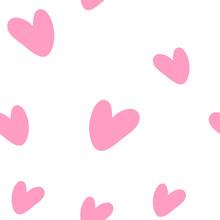 Pink Hearts Cute Trendy Seamle...