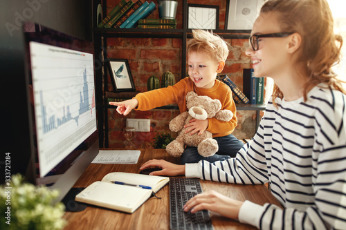 Boy asking mother about data analysis during work