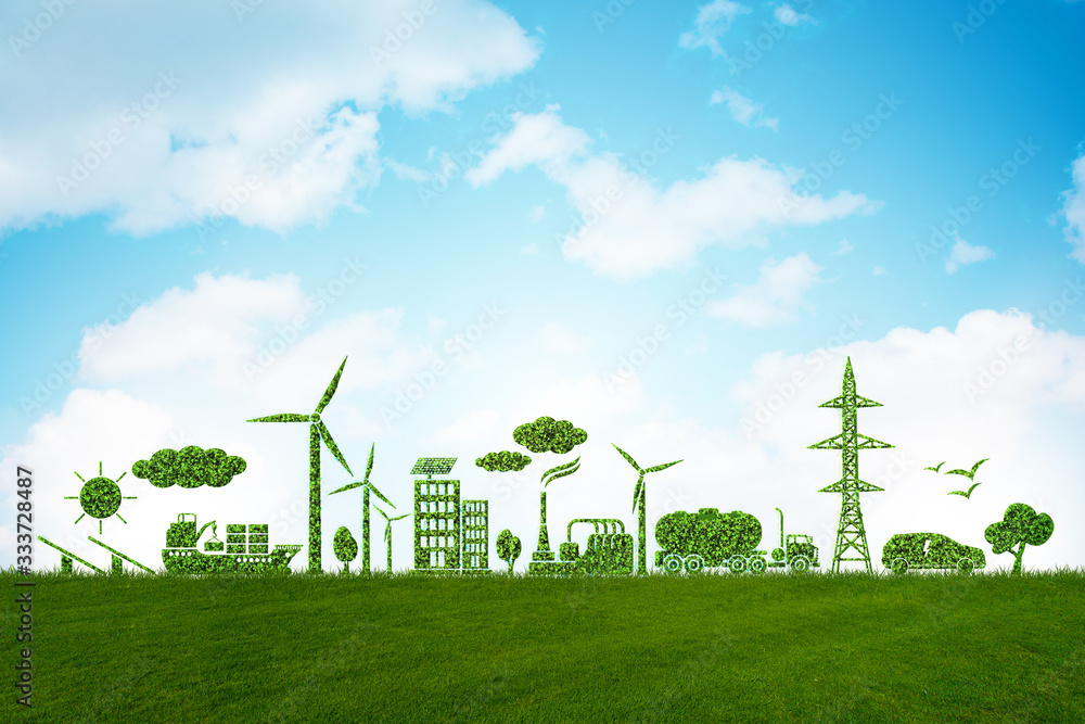 Fototapeta Environment and ecology in green concept - 3d illustration