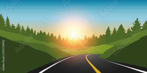 Fototapeta asphalt road in green mountains summer landscape vector illustration EPS10 obraz
