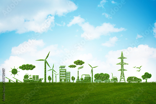 Environment and ecology in green concept - 3d illustration Canvas Print