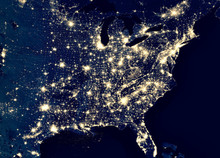 Earth At Night, View Of City L...