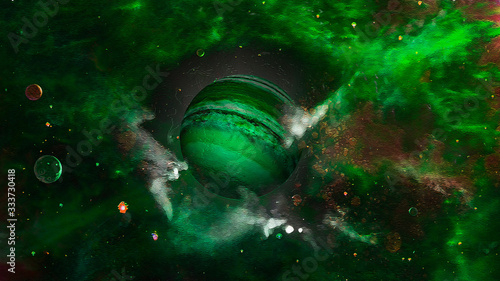 Photo Green Planet Nemesis Surrounded by Space Dust Clouds