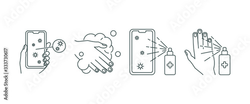 Fotografie, Obraz hand and telephone disinfection, set icons line