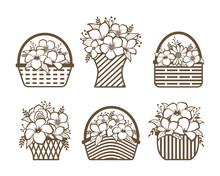 Beautiful Flower Basket Vector Design