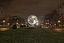 Unisphere At Night In Flushing Meadows Park In Queens NYC. Park At Night In New York USA
