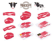 牛肉と牛のイラストセ...