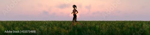 exercise and sunset Fototapeta