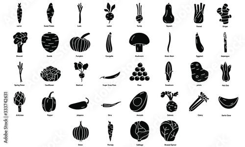 Tablou Canvas Set of Vegetable Icons Illustrations Designs