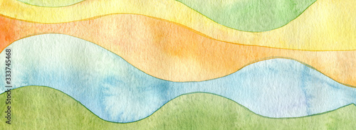 Abstract rainbow acrylic and watercolor wave painting background Wallpaper Mural