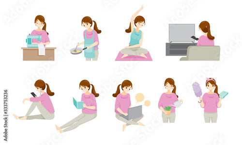 Fotomural Woman Stays At Home And Work From Home With Many Activities, Protection For Coro