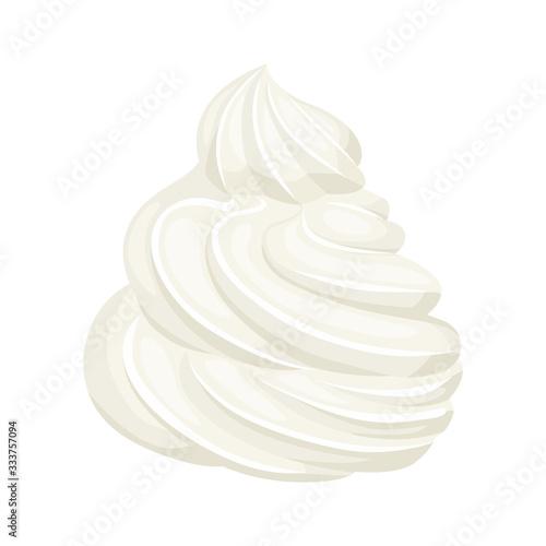 Fototapeta Whipped cream isolated on white background