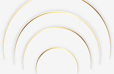 Fototapeta Wzory geometryczne Modern white background with shiny gold circle element. Abstract light silver clean surface. Elegant circle shape design with golden line vector