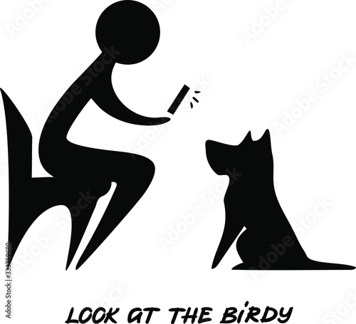 Person photographs a dog, vector silhouette of a sitting human and a sitting dog Canvas Print