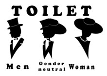 A Sign For The Toilet, Both Male And Female As Gender