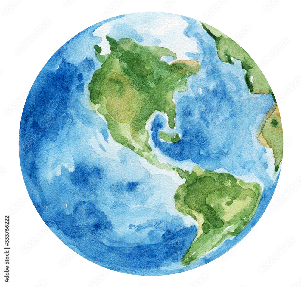 Fotografie, Obraz Watercolor hand painted planet Earth on white background