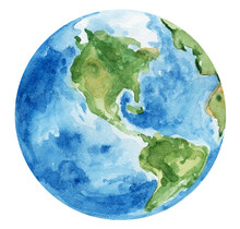 Watercolor Hand Painted Planet Earth On White Background. Can Be Used For Pattern, Stickers, Decoration. Green And Blue Colors