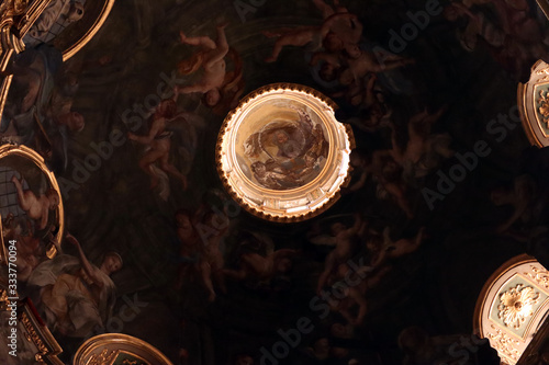Ceiling paintings in the Church of the  Gesu Canvas Print