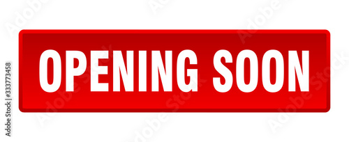 Fotografía opening soon button. opening soon square red push button