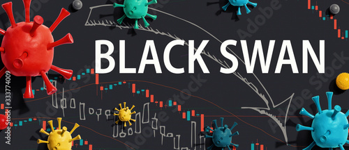Black Swan theme with viruses and downward stock price charts Wallpaper Mural