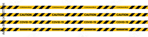 Carta da parati Vector of Yellow Caution Euro Tape of COVID-19Set Warning Coronavirus Outbreak of Quarantine Area, Infection Virus Disease, Risk Area Zone