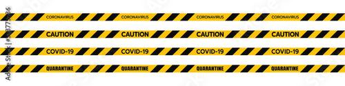 Fototapeta Vector of Yellow Caution Euro Tape of COVID-19Set Warning Coronavirus Outbreak of Quarantine Area, Infection Virus Disease, Risk Area Zone