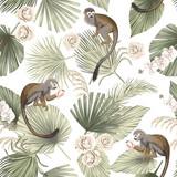 Tropikalna małpa zwierząt, kwiatowy zielone liście palmowe, kwiat róży orchidei bezszwowe wzór białe tło. Tapeta egzotycznej dżungli. - 333775857