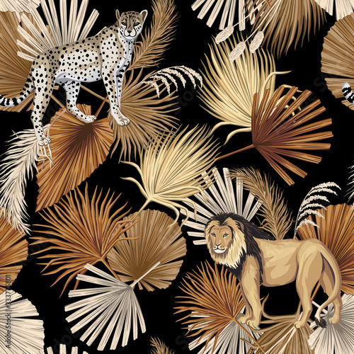 Tapety kolonialne  liscie-vintage-tropikalny-palm-lampart-lew-zwierze-kwiatowy-wzor-czarne-tlo-tapeta-egzotyczna-dzungla