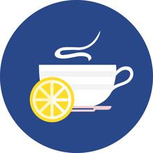 Hot Drink In Cup With Lemon Slice, Green Tea, Hot Water, Tea