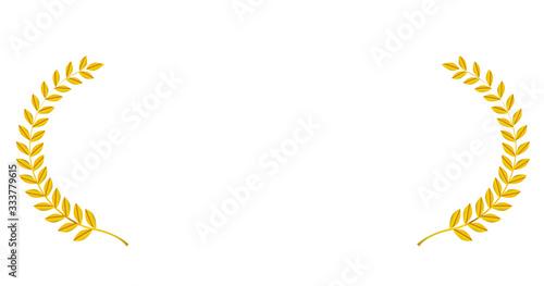 Fotografia 金色メタリックの月桂冠・月桂樹のフレーム・飾り罫・オーナメント(ワイド)