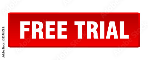 Photo free trial button. free trial square red push button