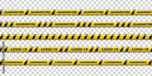 Fotografie, Obraz Vector set of realistic isolated quarantine caution tape with yellow and black stripes for decoration on the transparent background