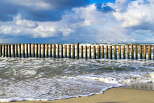 Wooden Breakwater At The Coast...