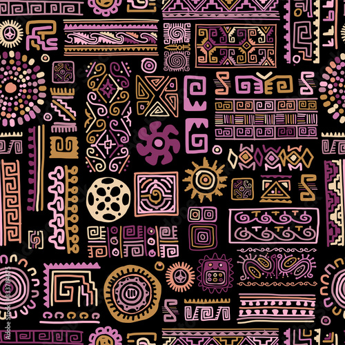 Fotobehang - Ethnic handmade lilac ornament, seamless pattern