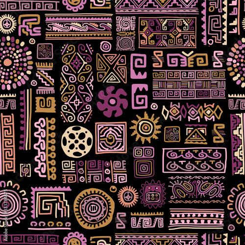Wall mural - Ethnic handmade lilac ornament, seamless pattern