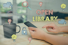 Text Sign Showing Open Library...