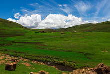 Traditional Basotho African Huts In The Kingdom Of Lesotho