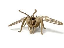 3d Cardboard Wasp Puzzle On A White Background. Children's Designer From Cardboard. 3D Volume Puzzle. 3d Puzzle From The Designer. Children's Puzzle On A White Background Isolated. Cardboard Wasp.