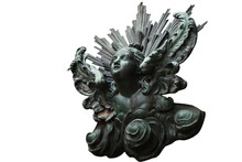 An Ancient Iron Statue Of Ange...