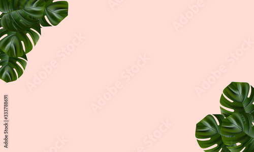 Obraz Tropical beach. Floral jungle palm background. Vector tropic illustration. Exotic tropical jungle rainforest bright green monstera leaves border frame template on pink background. - fototapety do salonu