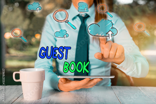 Conceptual hand writing showing Guest Book Wallpaper Mural